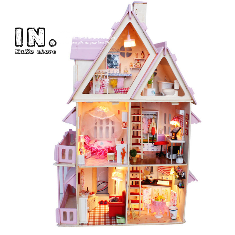 product Creative Wooden Toy pink DIY House Sunshine AliceModel Building Kit Furniture Miniatura Doll house Toy for gifts free shipping
