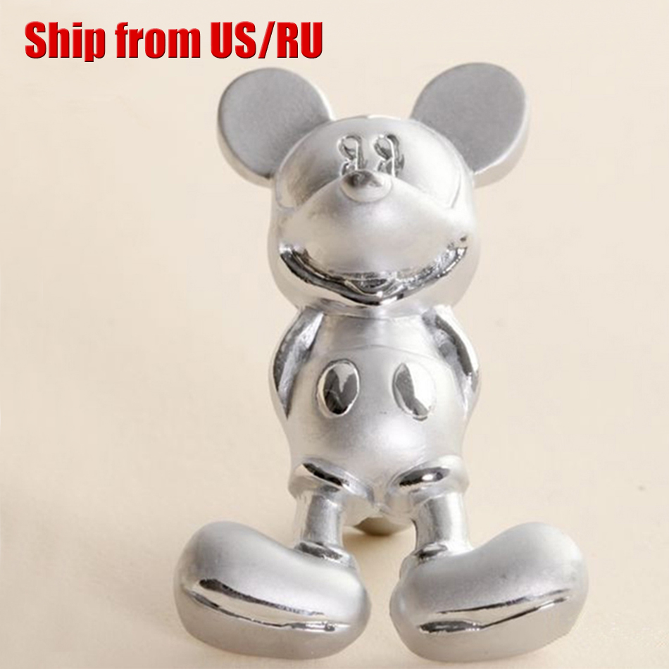 Fashion 10pcs Silver Mickey Mouse Handles Furniture Kids Bedroom Cartoon Drawer Dresser Knobs for Kitchen Cabinet Closet Pulls(China (Mainland))