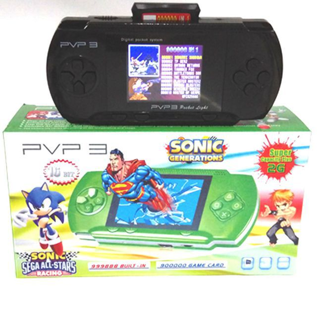 Hot 16 bit Portable game player PVP3 2.5 inch TFT LCD screen PVP2 video game +game card + retail package 2Pcs/lot drop ship!(China (Mainland))
