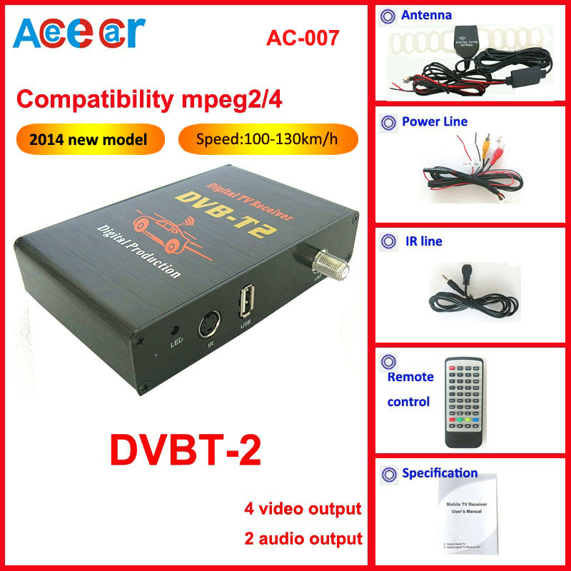 2014 new car mobile HD dvbt dvbt-2 receiver digital TV Tuner compatible mpeg4+mpeg2 composite CVBS with 4 video output(China (Mainland))