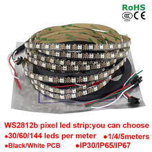 DC5V 1m/4m/5m ws2812b Smart led pixel strip,Black/White PCB,30/60/144 leds/m WS2812 IC;WS2812 /M 30/60/144 pixels,IP30/IP65/IP67(China (Mainland))