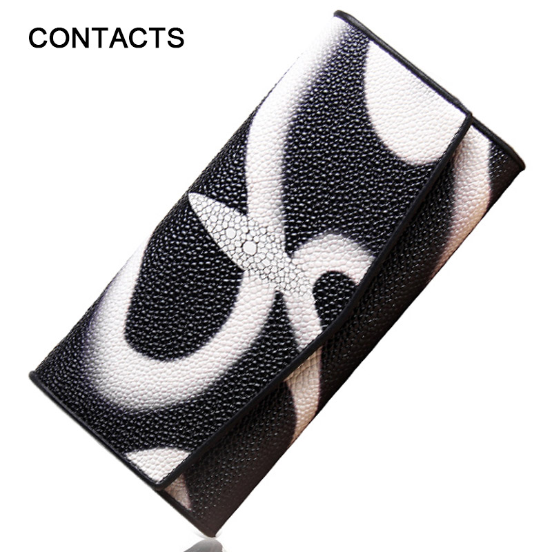 Hot! Brand Women Leather Wallets PearlFish Skin Long Wallet Ladies Leather Credit Card Red Clutch Wallet Female Phone Purses(China (Mainland))