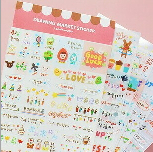 15packs/lot Wholesale New Rainbow Diary Stickers/Multifunction/ Cartoon DIY PVC Sticker/Index Sticker/Sign post/Pink<br><br>Aliexpress