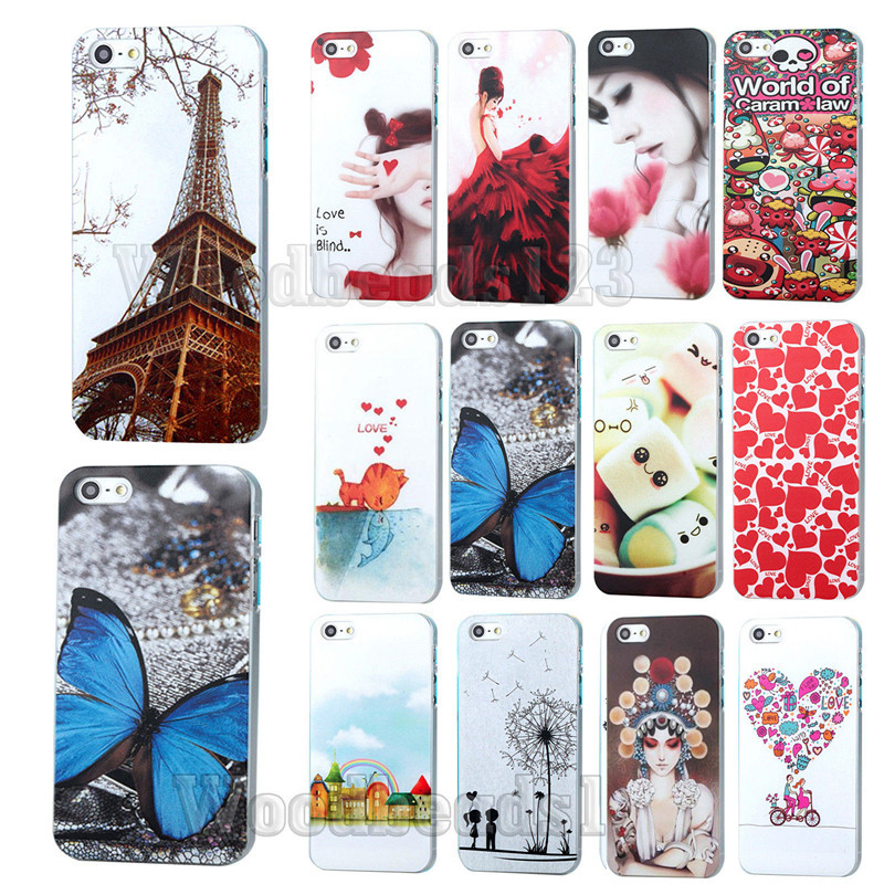 22styles Cute Phone Shell Case Fashion tower cat butterfly flower Painting Hard Cover Case Skin for Apple iPhone4 4S floral DY92(China (Mainland))