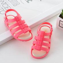 מיני מליסה אופנה ילדים מזדמנים ילדי הקיץ חלול פסים אבזם Etal ברורה נסיכה בנות כפכפים פרדות סנדלי נעלי ג 'לי(China)