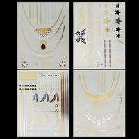 4 Style Body Art Sexy Lady Temporary Gold Chain Tatoo Flash Metallic Tattoo Jewelry Temporary Tattoo Stickers