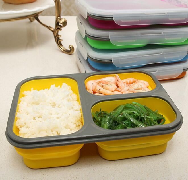 1100ml Silicone Collapsible Portable Lunch Box Bowl Bento Boxes Folding Food Storage Container Lunchbox Eco-Friendly(China (Mainland))