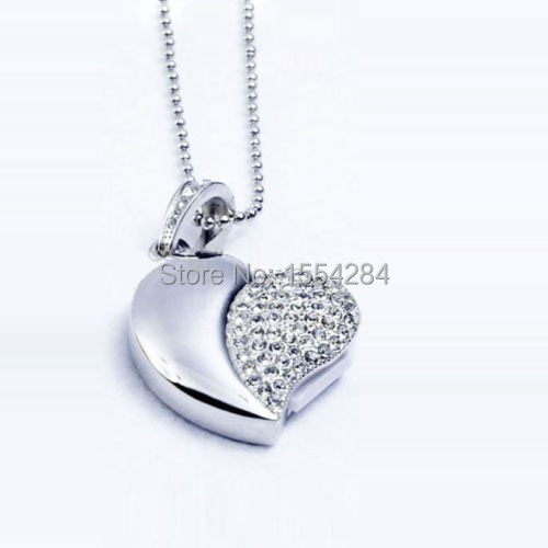 Love heart model necklace 8GB 16GB 32GB USB 2.0 crystal pen drive USB flash drive Pen drive memory U disk(China (Mainland))
