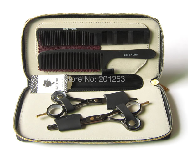 Black Cutting Scissors and Thinning Scissors  Kits,Smith Chu Hair Scissors Kit  for Hairdressers,5.5INCH,1set  Free Shipping<br><br>Aliexpress
