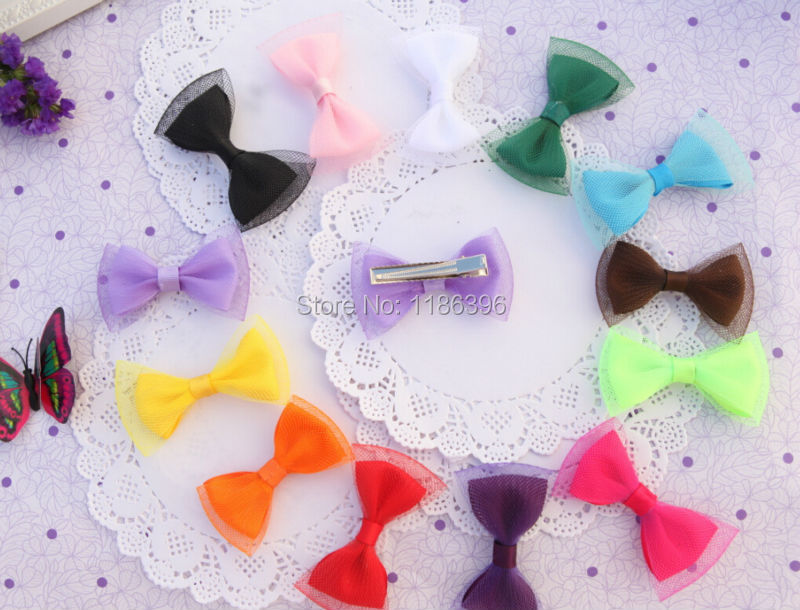 30pcs/lot 13colors Baby Girl Elastic Net Hair Bow with Clip High Quality hairpin for Children's Hair Accessories CYD-030(China (Mainland))