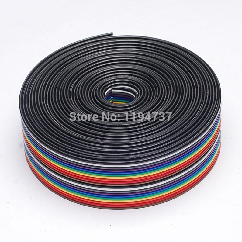 ribbon cable 20 WAY Flat Color Rainbow Ribbon Cable wire Rainbow Cable 20P ribbon cable 1.27MM pitch 5meters/lot IN STOCK(China (Mainland))