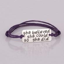 "Popular Inspirational Bracelet ""She Believed did"" Handmade Rope Bracelets Jewelry Women YP2578 - jenny jewelry (Drop shipping store)"