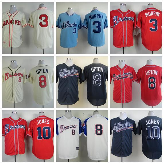 Cheap Sale Atlanta Braves Jersey Shirt Baseball Blank #3 Dale Murphy #10 Chipper Jones Jerseys #8 Justin Upton Black Beige Blue(China (Mainland))