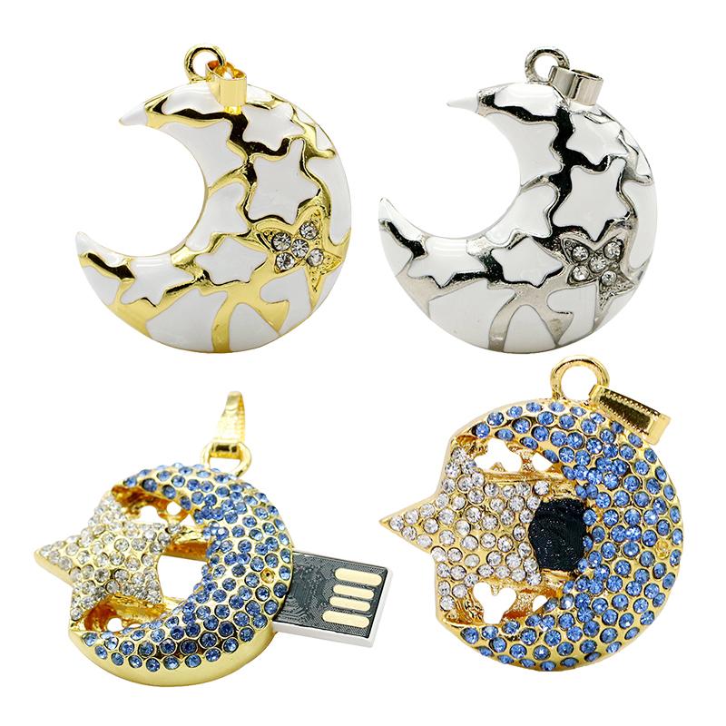 Crystal USB Flash Drive Thumb Stick Flash Disk 4GB 8GB 16GB 32GB 64GB Jewelry Necklace Moon Star Pen Drive Gifts Free shipping(China (Mainland))