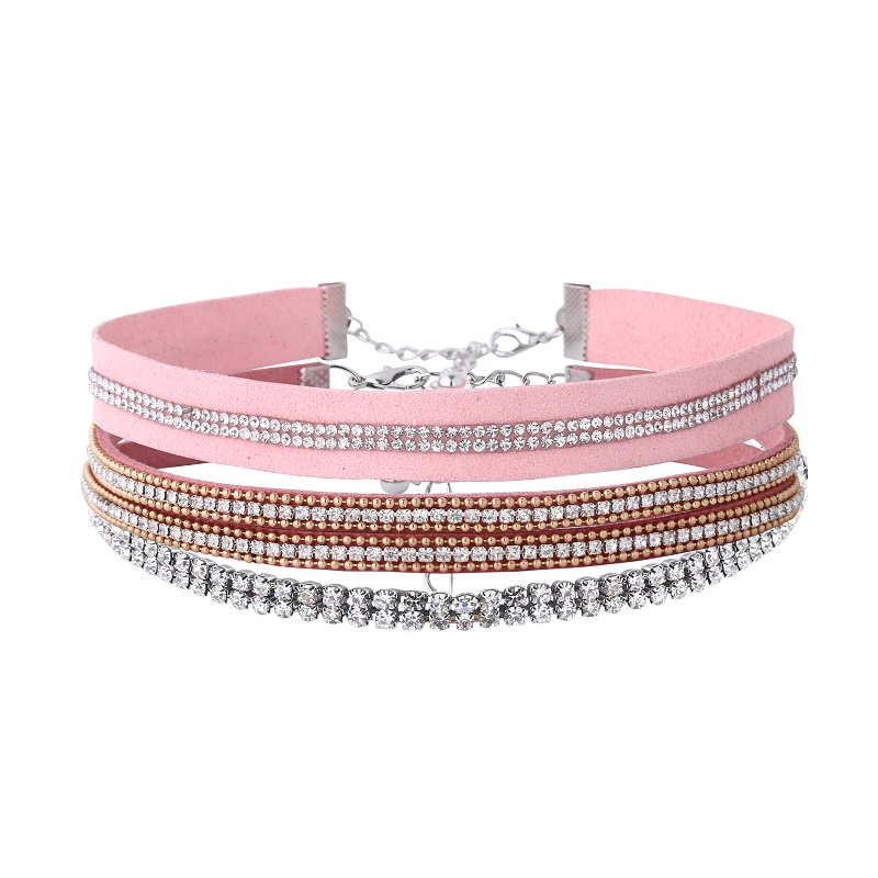Li & Fang Alloy Rhinestone Choker Necklace Female Pink Leather Cashmere Flannel Punk Multi Layer Maxi Fashion Crystal Necklaces