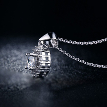 Women s Pendant Necklace White Gold Plated Created Diamond Jewelry for Women Vintage Wedding Chain Necklace