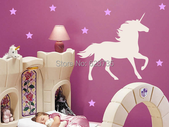 Fantastic fairy tale Unicorn Horse Vinyl Wall Decal with Stars Nursery Wall Stickers Decor , free shipping p2035(China (Mainland))