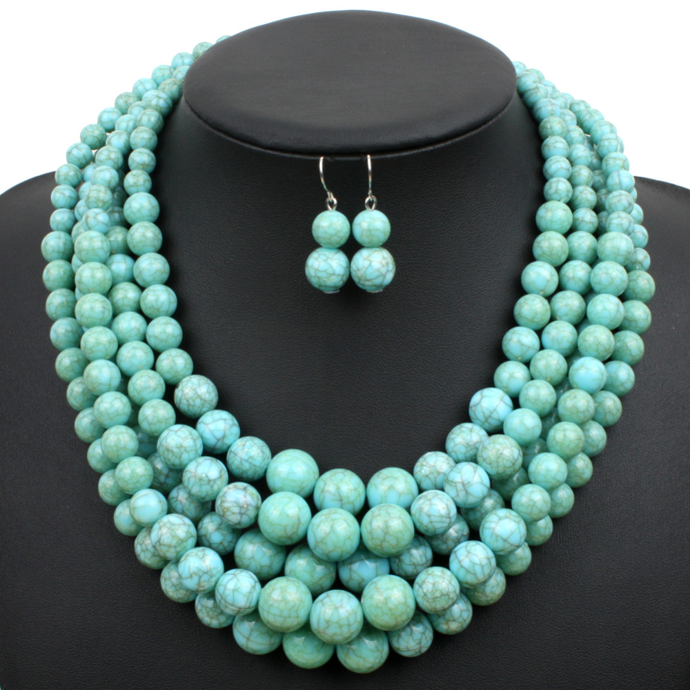 multi stand necklace turquoise color plastic resin bead women statement necklace trendy chains necklaces party jewelry 6510(China (Mainland))