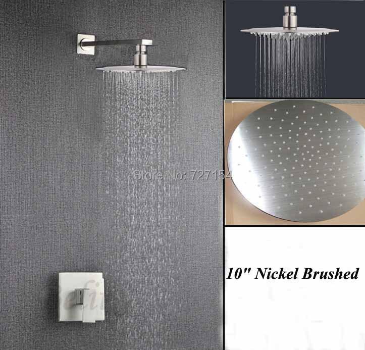 """Здесь можно купить   Rianfall 10"""" Nickel Brushed Shower Faucet Single Handle Mixer Ultrathin Shower  Rianfall 10"""" Nickel Brushed Shower Faucet Single Handle Mixer Ultrathin Shower Дом и Сад"""