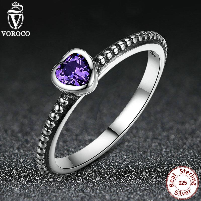 Purple Zirconia Original 925 Sterling Silver Ring Love Heart Luxury Jewelry A7106(China (Mainland))