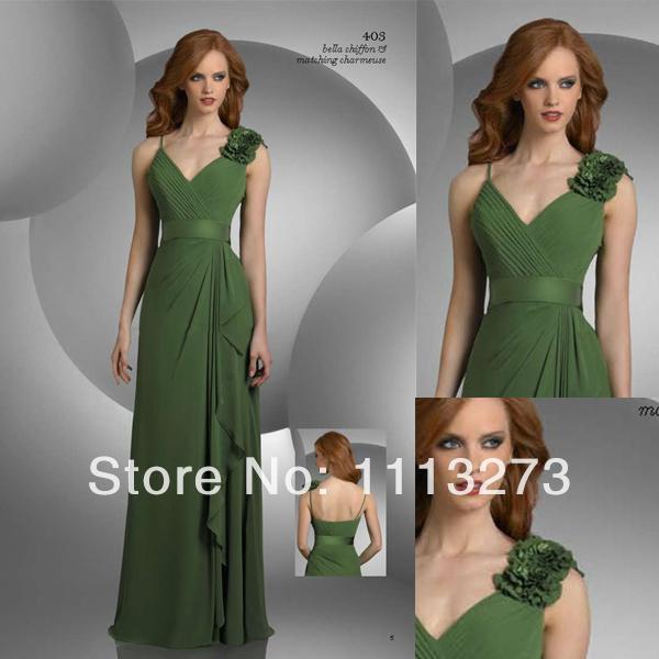 Sexy V-neck A-line Floor Length Chiffon Dark Green Bridesmaid Dresses With Flowers W151(China (Mainland))
