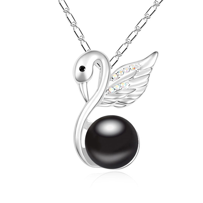 high quality new swan design for women 18K white gold plated bijoux femme collier de marque(China (Mainland))