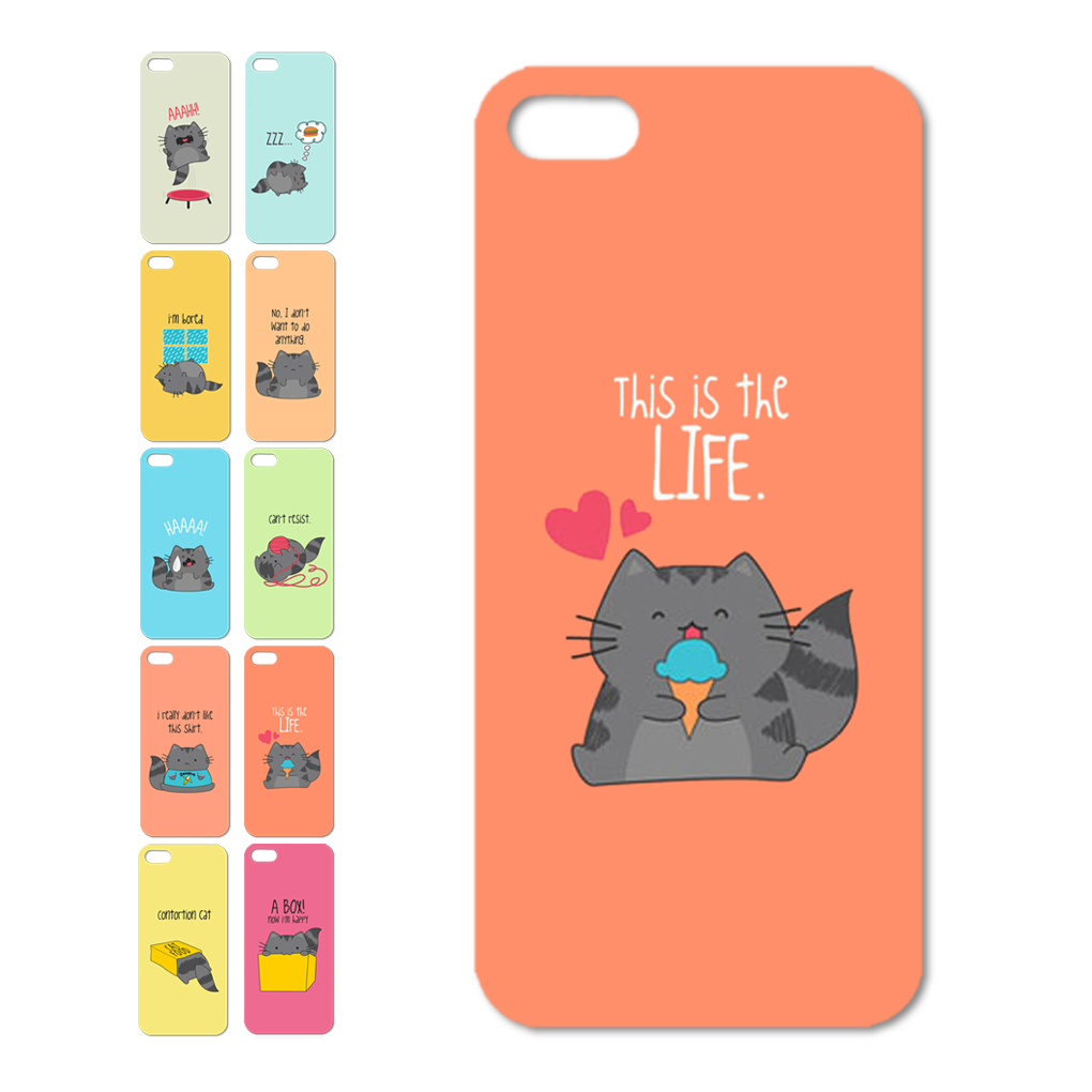 Phone cases cover for iphone 4 4s 5 5s of cute cats patterns series plastic hard case for iphone dirt-resistant(China (Mainland))