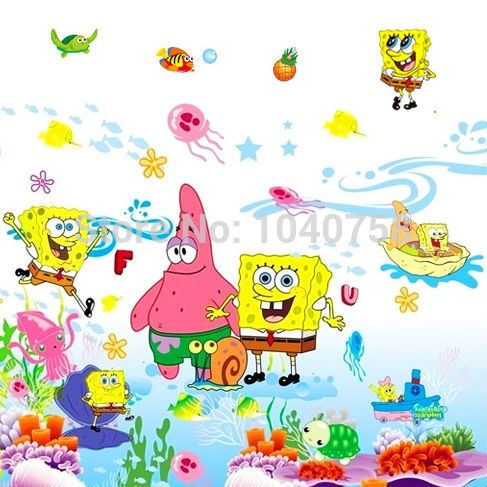 Removable Pvc Spongebob Wall Sticker For Kids Rooms Cartoon Decorative Wall  Decal Poster Home Decoration Wall