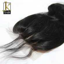 Three Part Lace Closure Bleached Knots JK Natural Black Peruvian Virgin Human Hair Body Wave 3 Part Top Lace Closure Cleatance