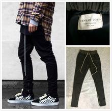 chinos joggers mens european urban clothing black kanye west justin bieber harem dress zipper track pants fear of god have logo
