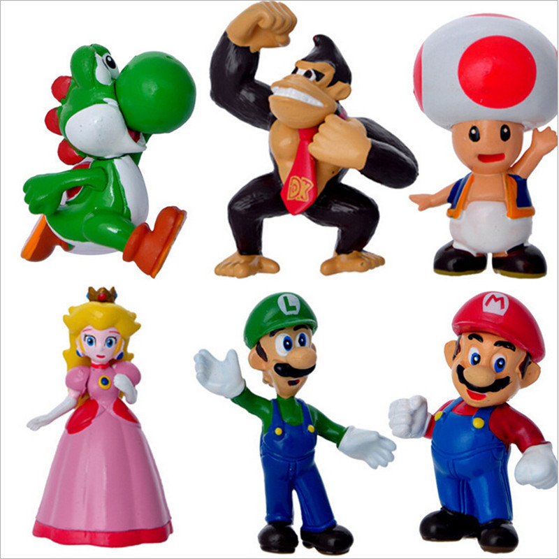 Kawaii Gifts toy figures mario bros 6 pcs/sets PVC Action Figure Collectible Model Toy Super Mario Bros(China (Mainland))