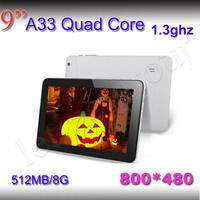 800*480 Bluetooth Quad Core 512MB/8G SmartTablet pc 9 inch A33  Wifi screen Andriod 4.4 1.3 Ghz Free shipping tablet pc Tablets