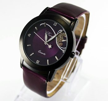 High Quality+ Free Shipping! New Perple Luxury and Prettly Lady Women Quartz Wrist Watch, BGM