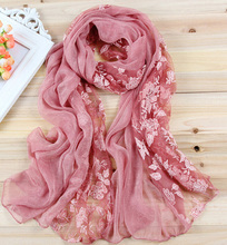 2016 New Hot Sale Stylish Elegant Lace Rose Floral Patchwork Scarves stitching Scarf for Women's Lady 7 candy colors AL S138(China (Mainland))