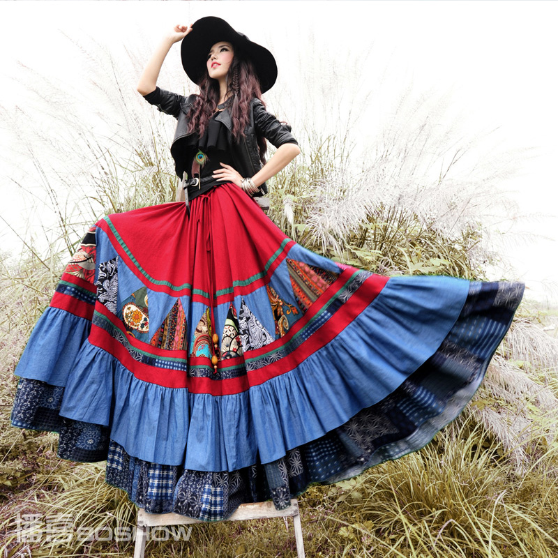 Webcasts boshow 2014 fluid print patchwork ultra long oversized 2 bust skirtОдежда и ак�е��уары<br><br><br>Aliexpress