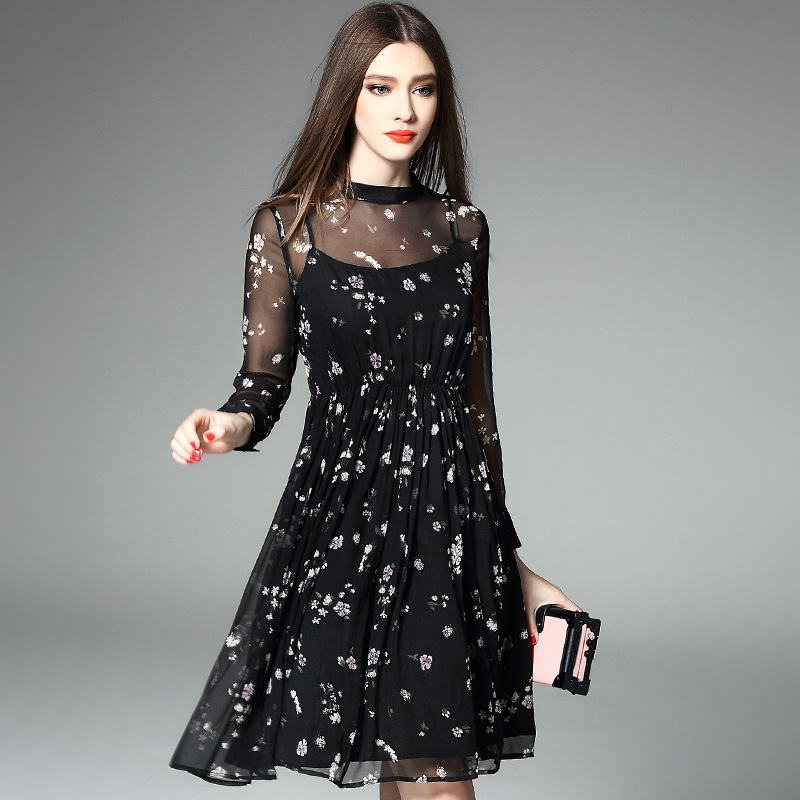 100% silk dress new 2016 summer dress long sleeve O neck print black casual brand women dress high end vestidos R657
