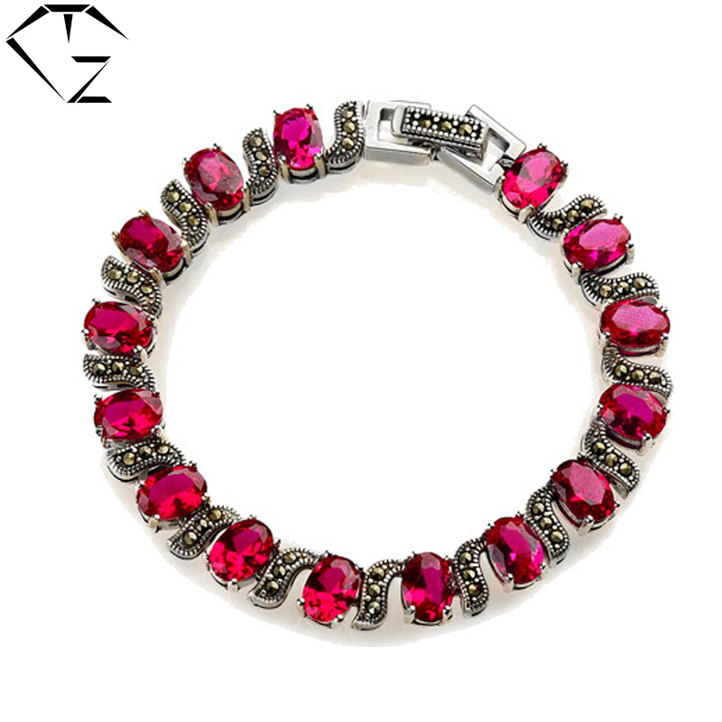 100% Real Pure 925 Sterling Silver Bracelets Ruby Blue Rose Garnet S925 Solid Thai Silver Chain Bracelet for Women Jewelry LB01(China (Mainland))