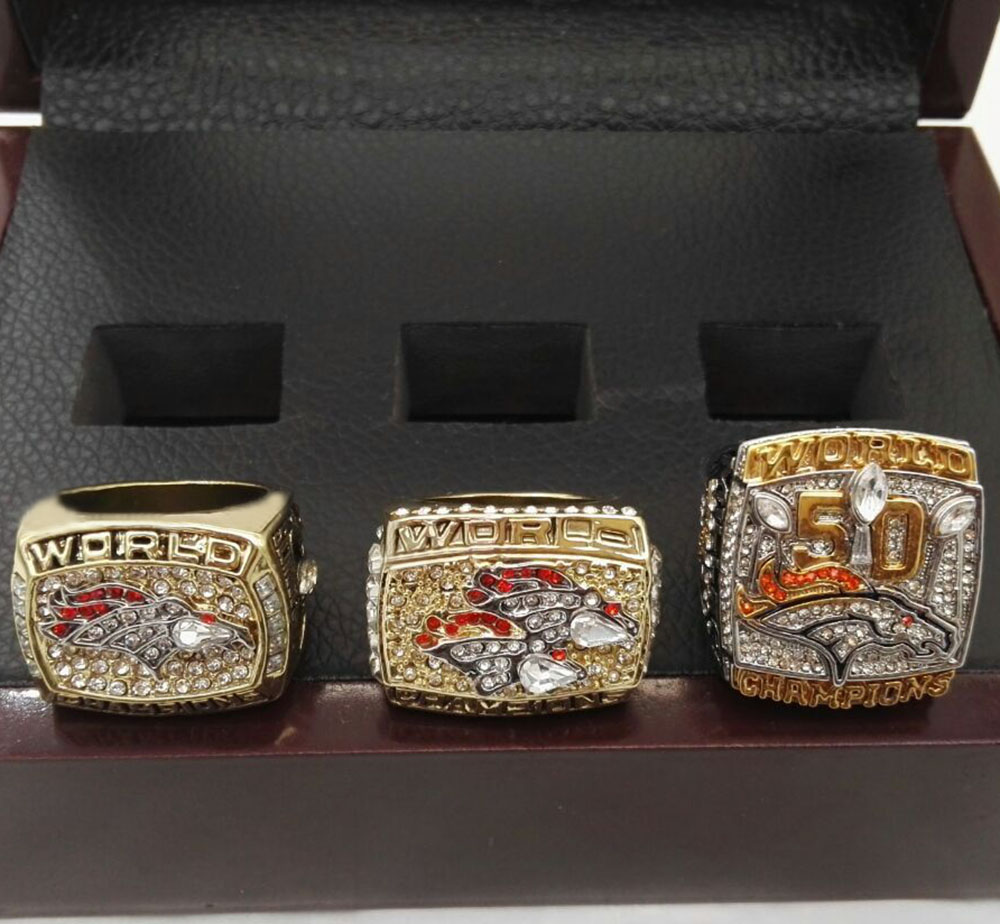 Gift Wooden Boxes with 3 Years 1997/1998/2015 Denver Broncos 24K gold plated Super Bowl world Championship Ring Sets(China (Mainland))