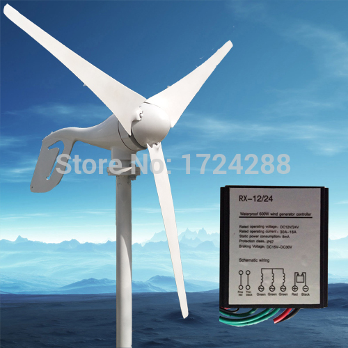 wind power turbine+600 w Max controller wind generator 600W max With RoHS CE ISO9001 Certification, 3 blade,12V/24V(China (Mainland))