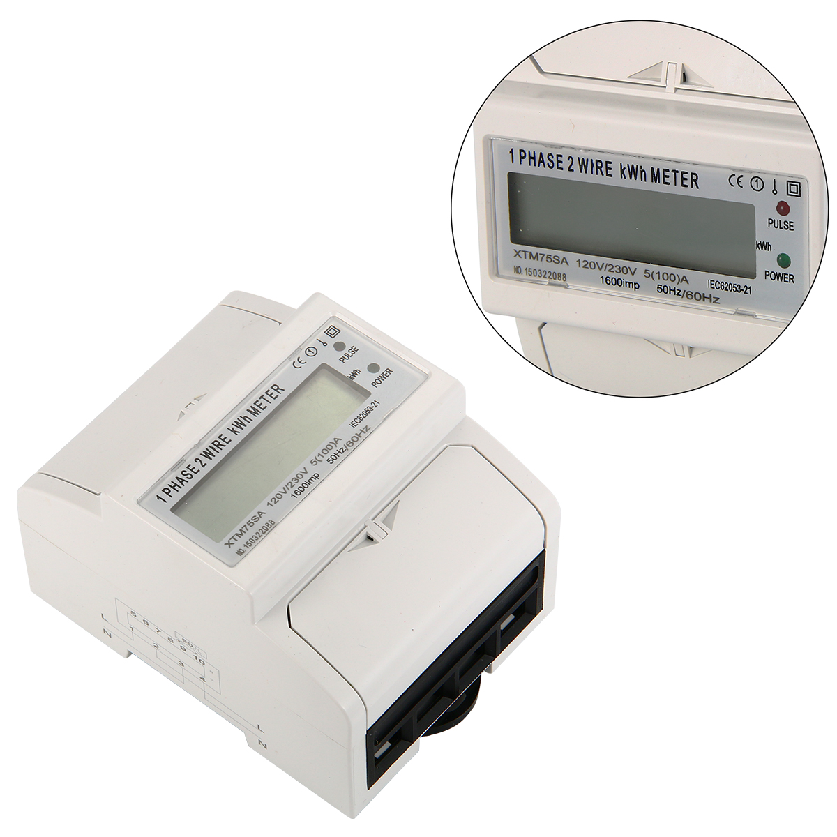 Ac Power Meter : A hz ac power meter so electricity kwh din rail