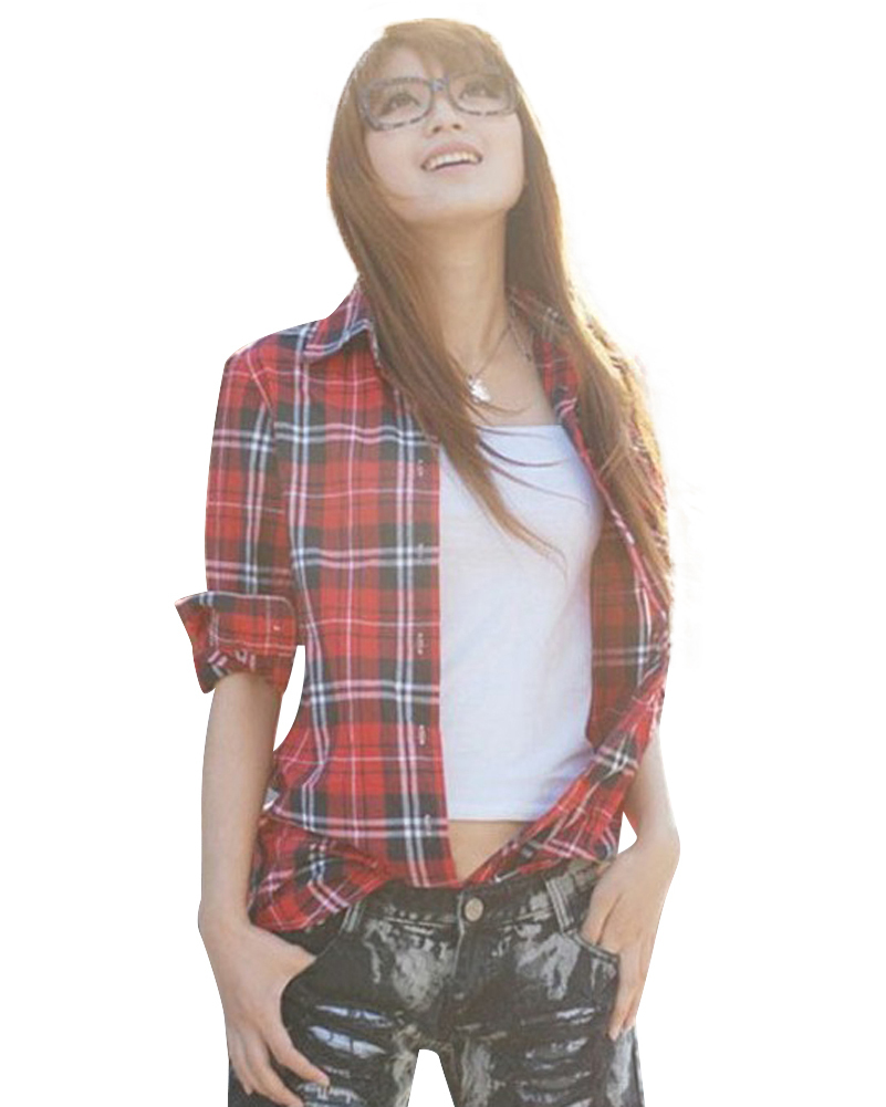 New Casual Button Down Lapel Neck Plaids Checks Flannel Shirts Women Long Sleeve Tops Blouse(China (Mainland))