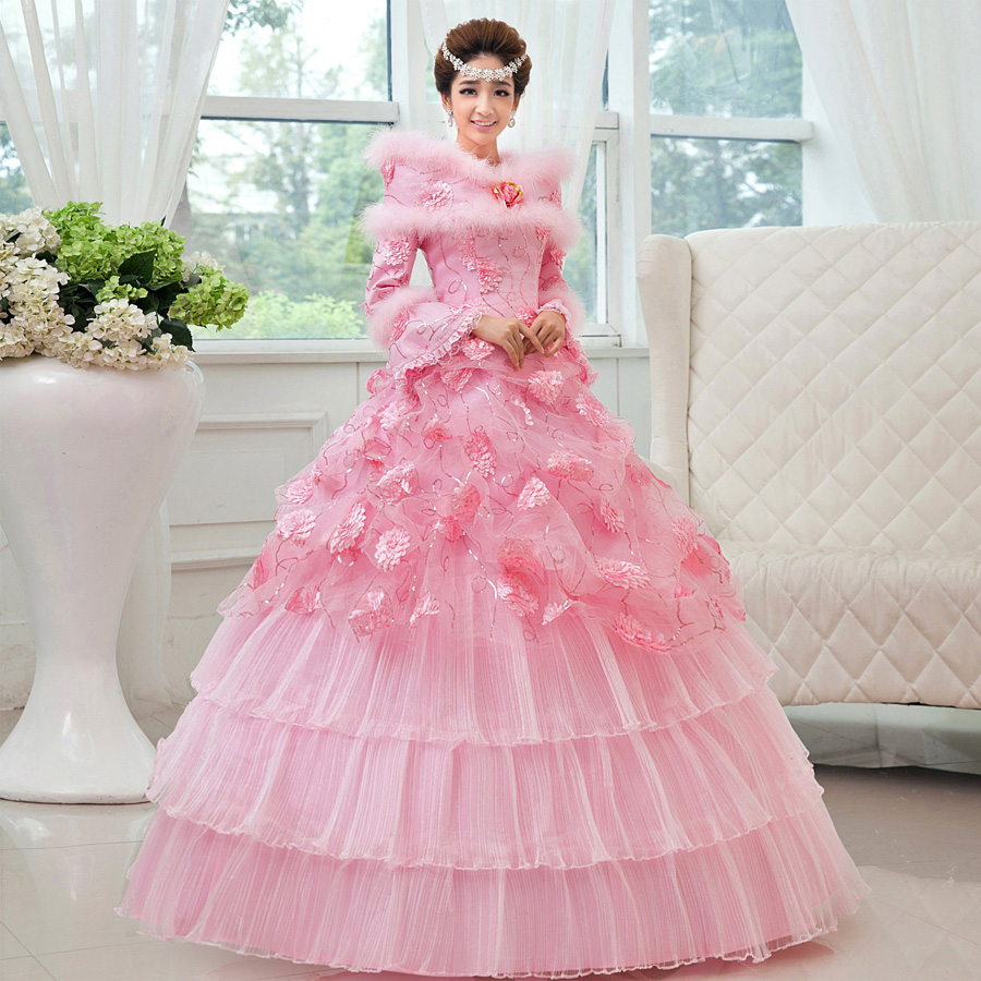A wedding day winter dresses wedding dresses new 2014 for Pink lace wedding dresses