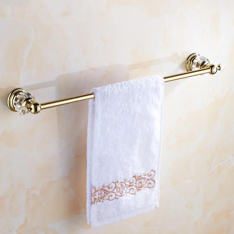 Luxury golden crystal single towel rack holder European golde double towel bar towel rack(China (Mainland))