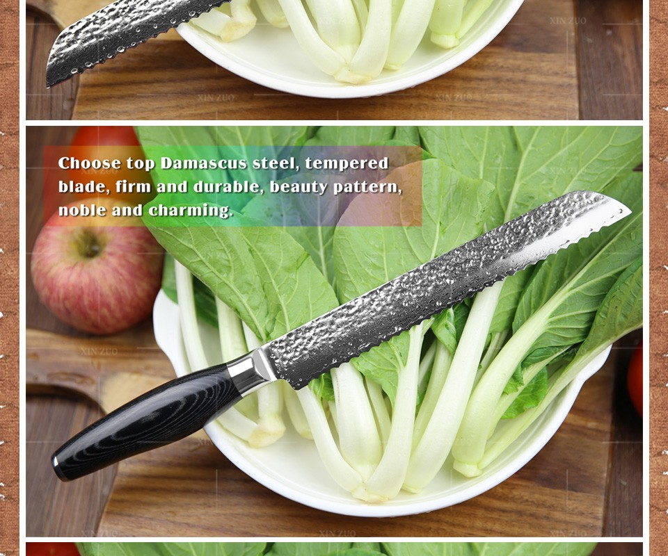 """Buy XINZUO 8"""" inch cake knife damascus bread knife Damascus kitchen knife kitchen tool Color wood handle free shipping cheap"""