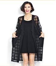 Plus Size Summer Style Fashion Women's Clothing Long Cardigan Arrival Black Plaid Print Loose Half Sleeve Lady Chiffon Coat(China (Mainland))