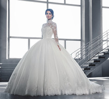 Buy Vestidos de Noiva Ball Gown Wedding Dress Long Sleeves Wedding Dresses 2016 Pearls Tulle Vestido de Noiva Casamento Mariage Boda for $107.25 in AliExpress store