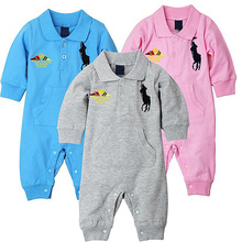2016 Baby Romper One-Piece long sleeve boy girl kids sets jumpsuit newborn baby rompers sports infant brand new polo casual suit(China (Mainland))