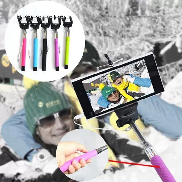 Wired Selfie Stick Handheld Monopod Built in Shutter Extendable Mount Holder For iPhone Samsung Smartphone Any