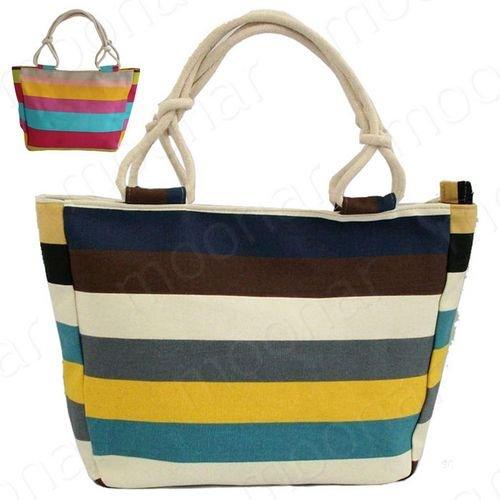 US Stock! 2015 Women's Handbag Casual Women Shoulder Bag Printing Bag Canvas Beach Bag Stripped Colorful Bag X*USB456(China (Mainland))