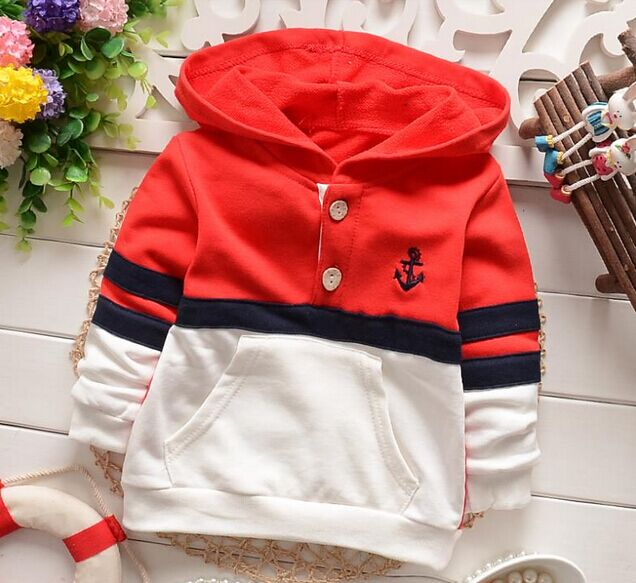 0-4 yrs children clothing boys T-shirts fashion spring autumn kids casual patchworking buttons pockets stripe hoodies tee shirt